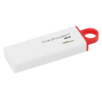 Kingston 32GB USB 3.0 Memory Pen, DataTraveler G4, White/Red, Lid