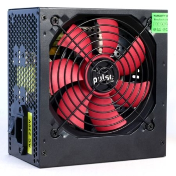 Pulse 750W PSU, ATX 12V, Active PFC, 4 x SATA, PCIe, 120mm Silent Red Fan, Black Casing